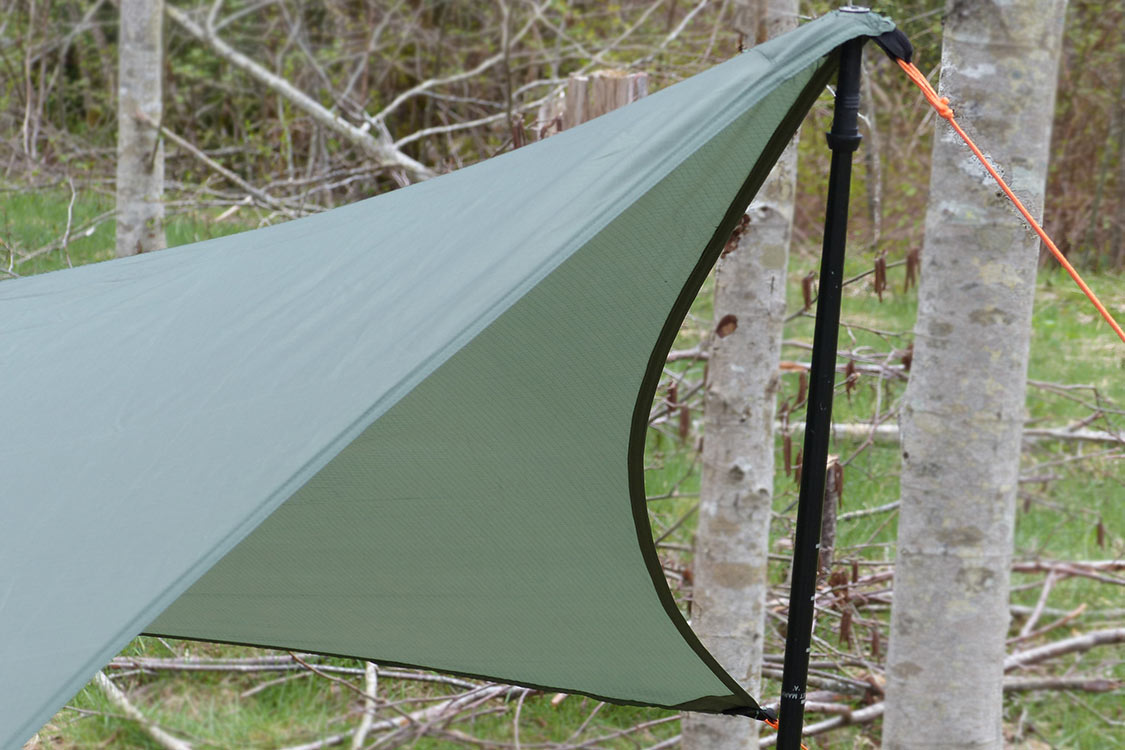 Wingman Tarp With Hiking Poles Close Up